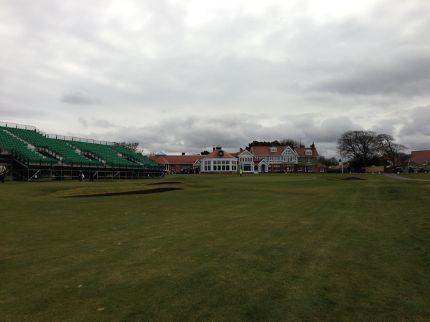 Muirfield, 18th hole and clubhouse. Already setting up for the Open Championship.