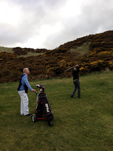 Steve and his caddie at Cruden Bay